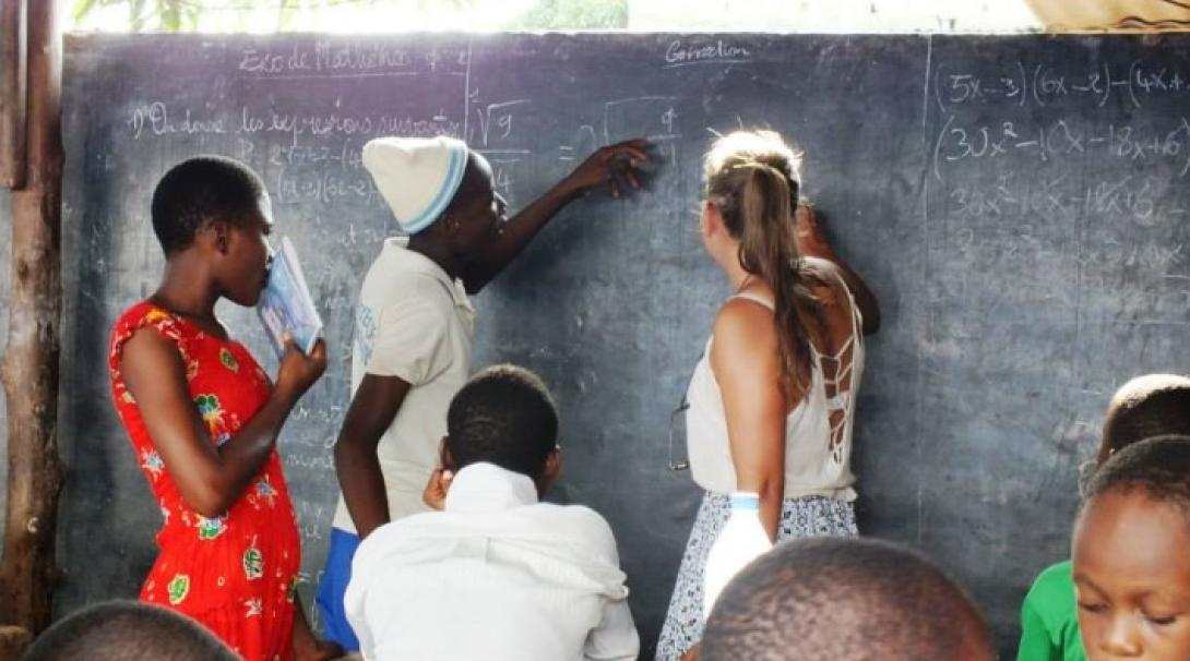 A volunteer teaching math in Togo